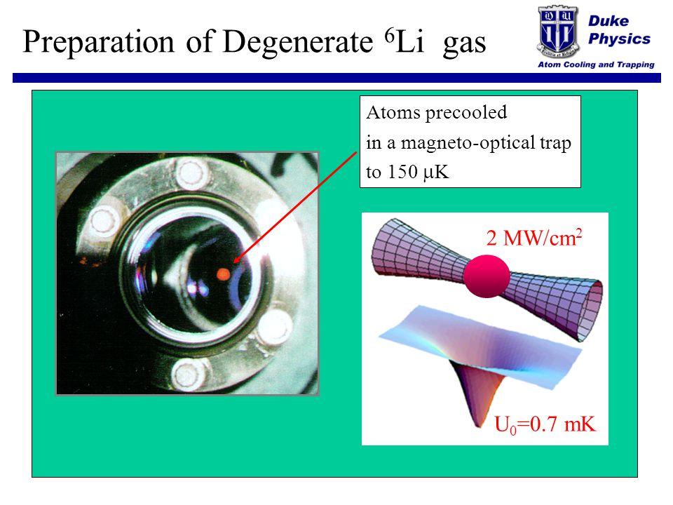 Preparation of Degenerate 6Li gas