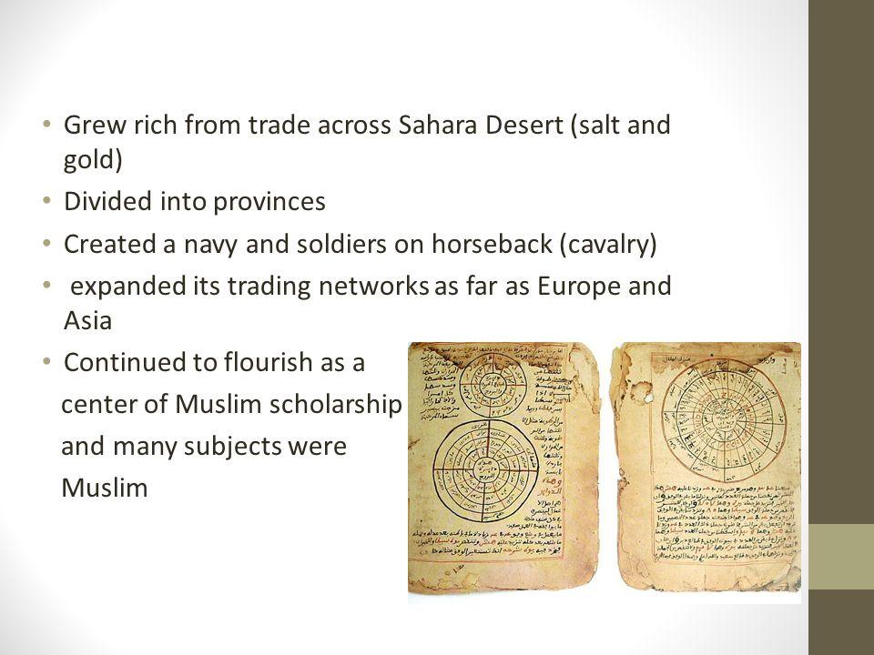 Grew rich from trade across Sahara Desert (salt and gold)