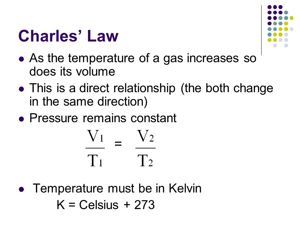 Charles' Law As the temperature of a gas increases so does its volume. This is a direct relationship (the both change in the same direction)