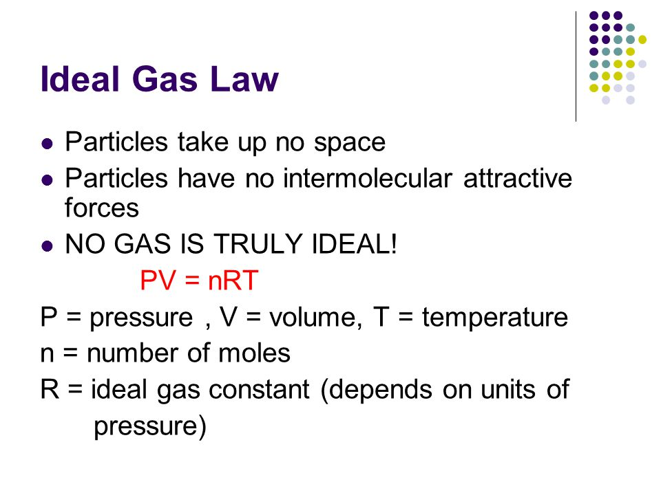 Ideal Gas Law Particles take up no space