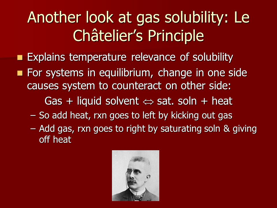 Another look at gas solubility: Le Châtelier's Principle