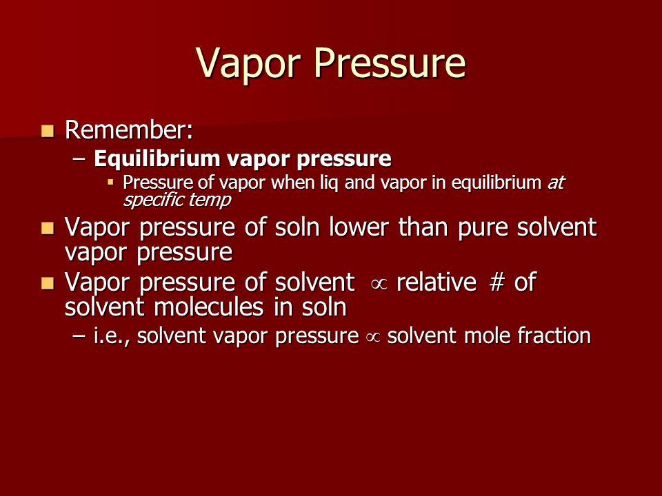 Vapor Pressure Remember: