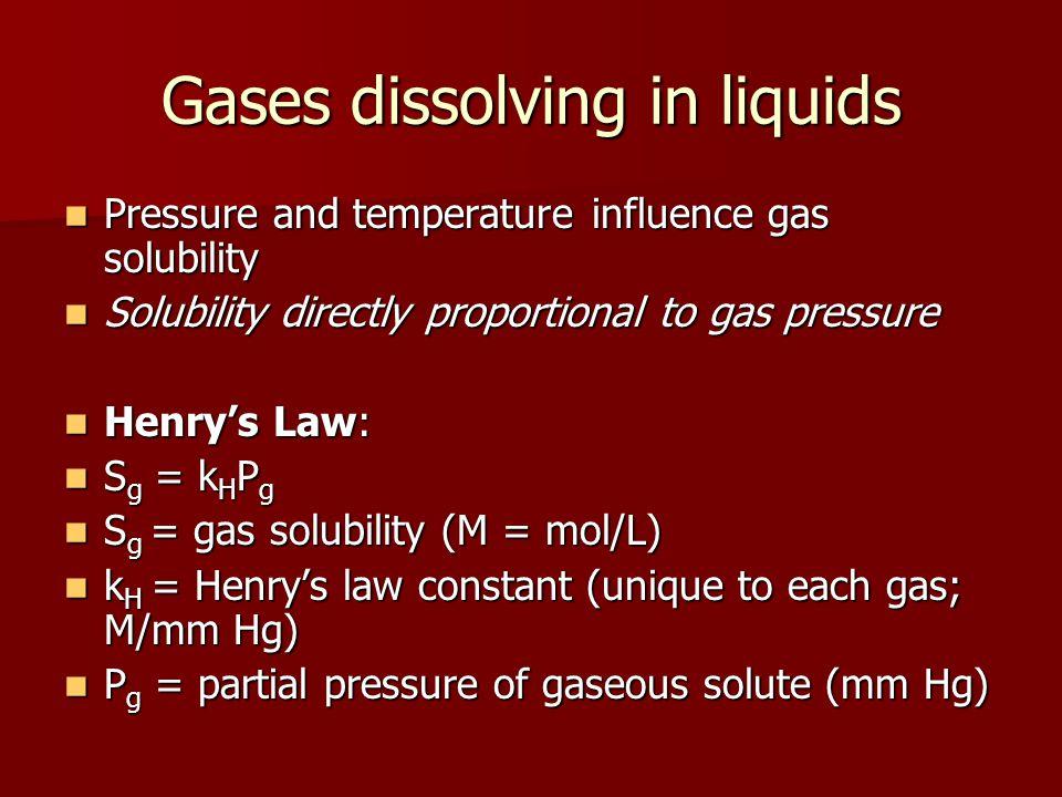 Gases dissolving in liquids