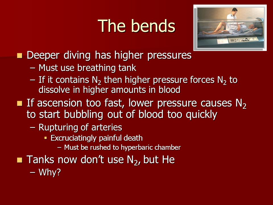 The bends Deeper diving has higher pressures