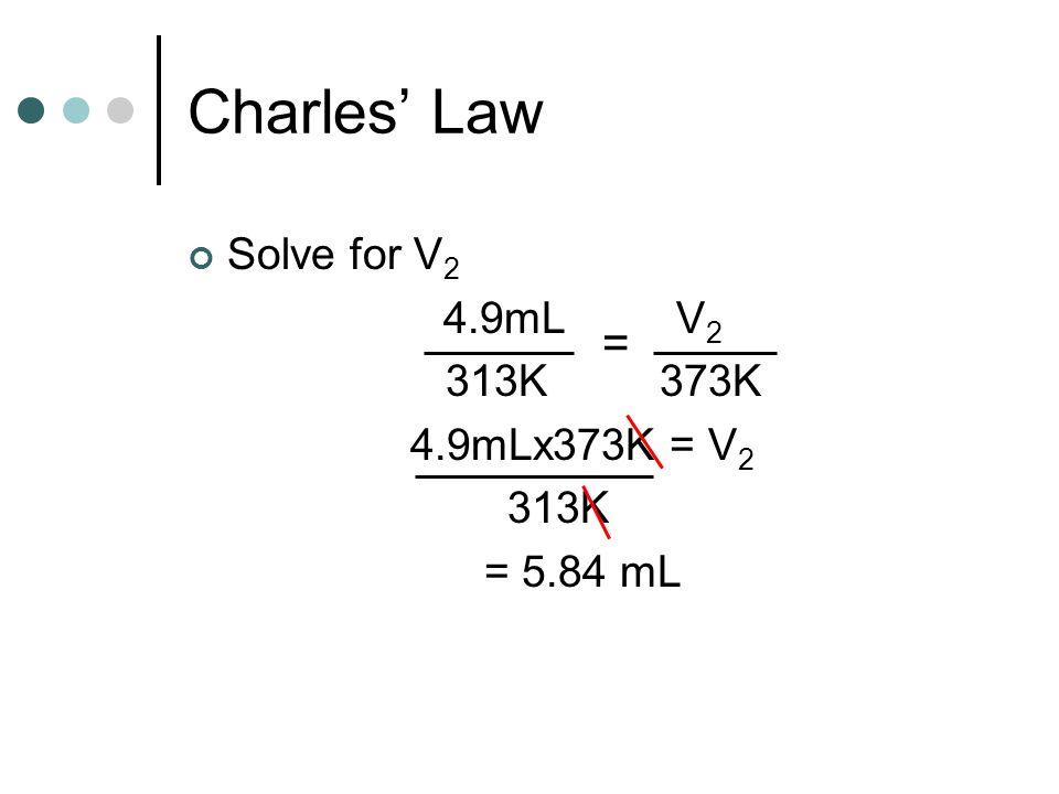 Charles' Law = Solve for V2 4.9mL V2 313K 373K 4.9mLx373K = V2 313K