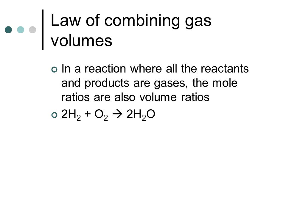 Law of combining gas volumes
