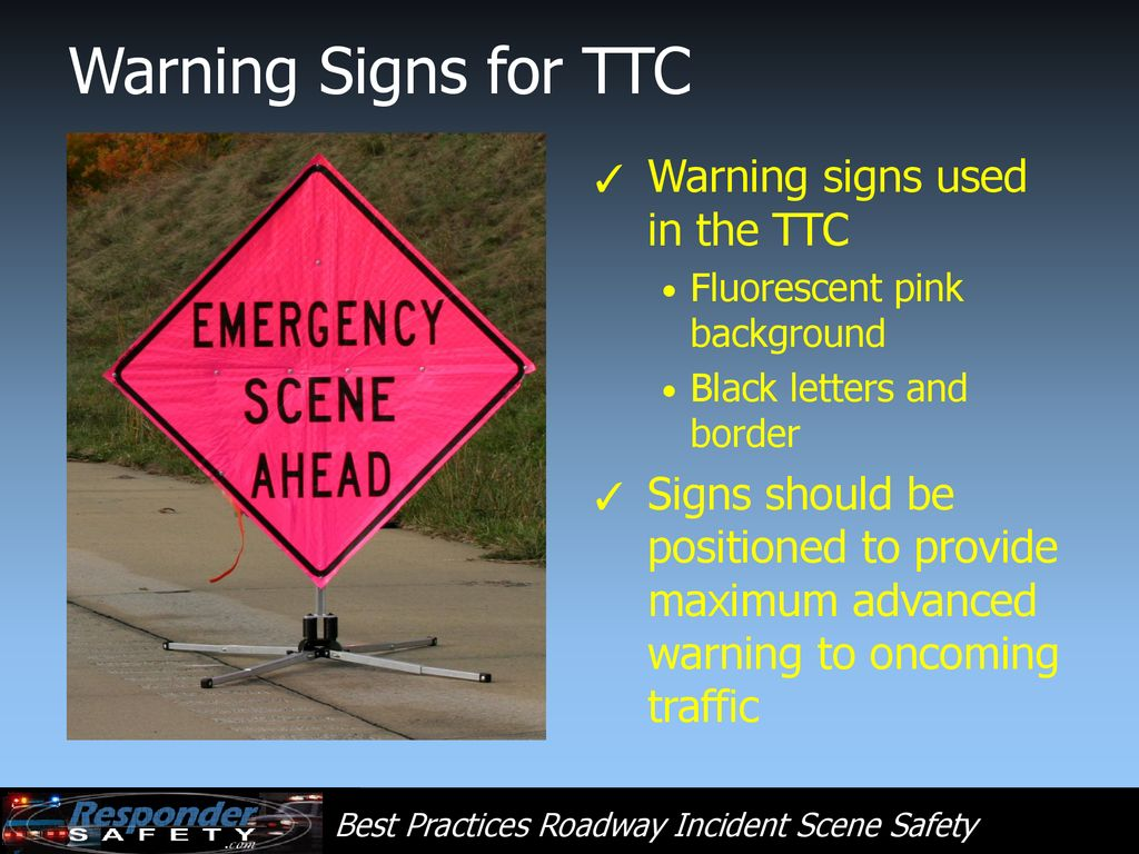 Example of cones and signs as traffic control at a roadway incident