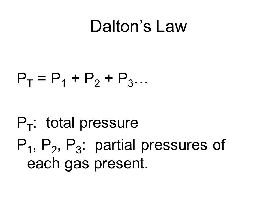 Dalton's Law PT = P1 + P2 + P3… PT: total pressure