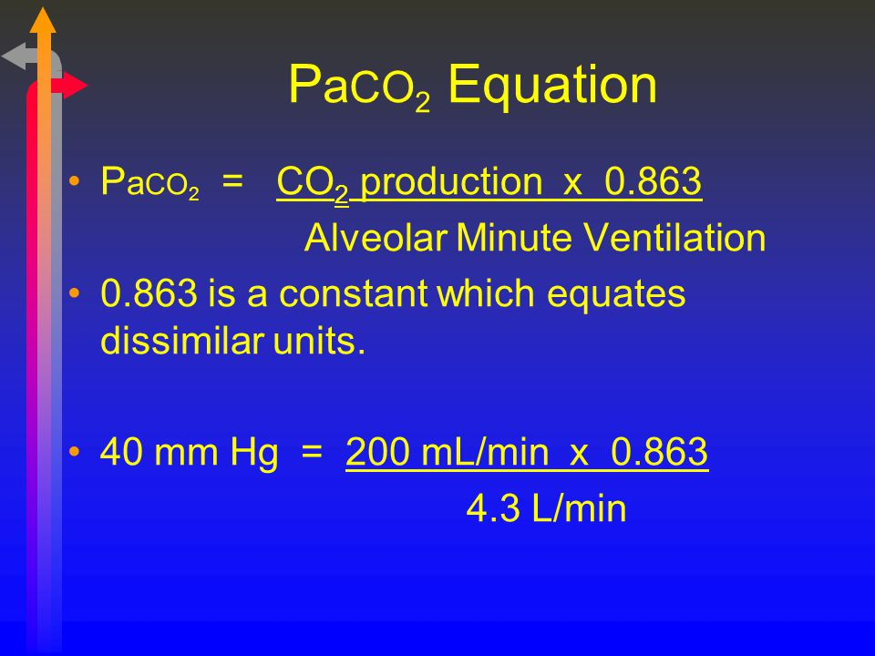 PaCO2 Equation PaCO2 = CO2 production x 0.863
