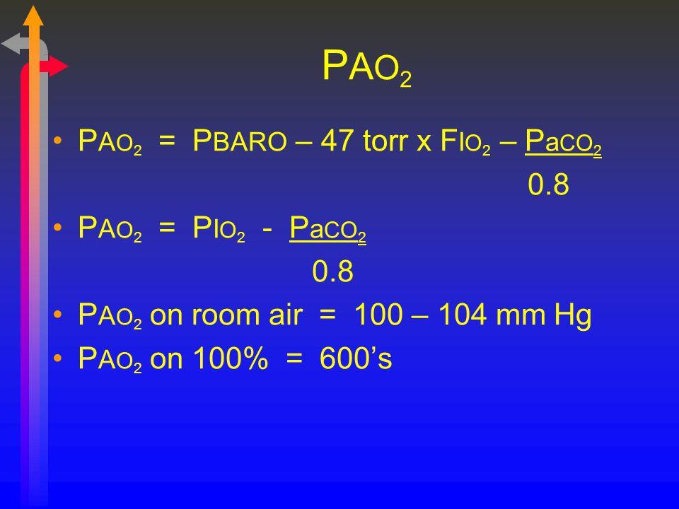 PAO2 PAO2 = PBARO – 47 torr x FIO2 – PaCO2 0.8 PAO2 = PIO2 - PaCO2