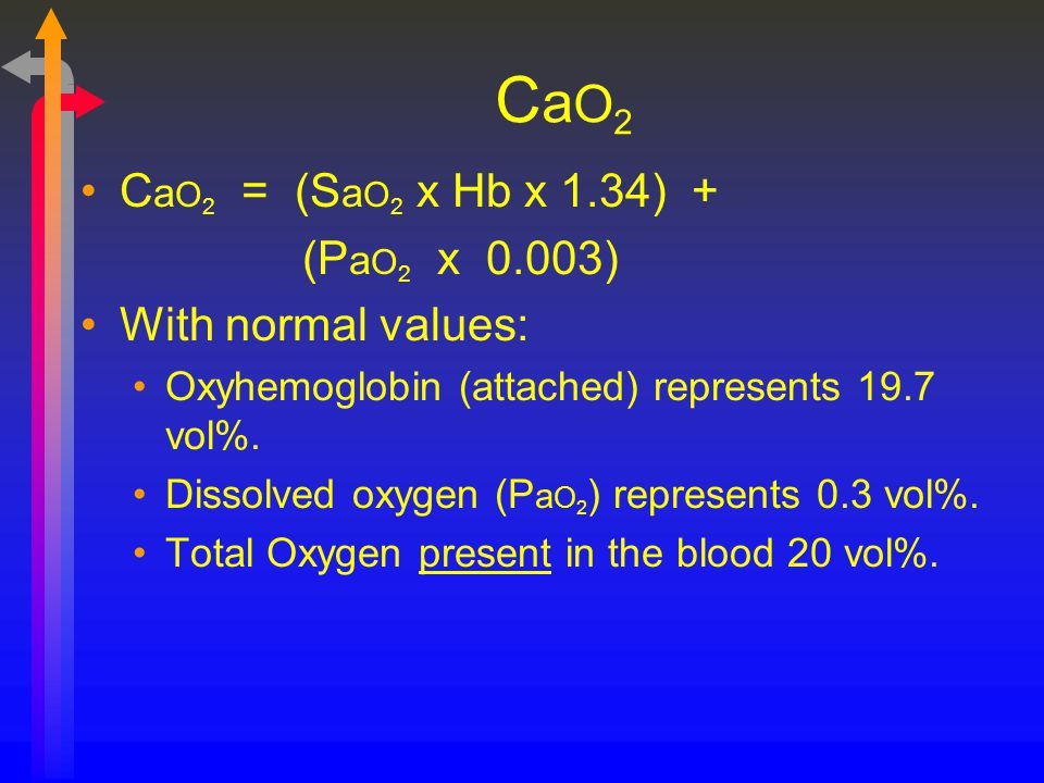 CaO2 CaO2 = (SaO2 x Hb x 1.34) + (PaO2 x 0.003) With normal values: