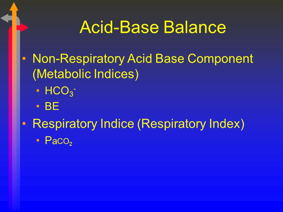Acid-Base Balance Non-Respiratory Acid Base Component (Metabolic Indices) HCO3- BE. Respiratory Indice (Respiratory Index)