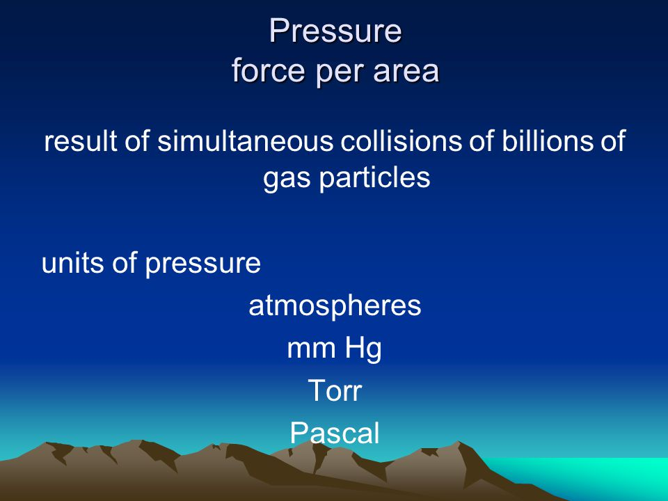 Pressure force per area