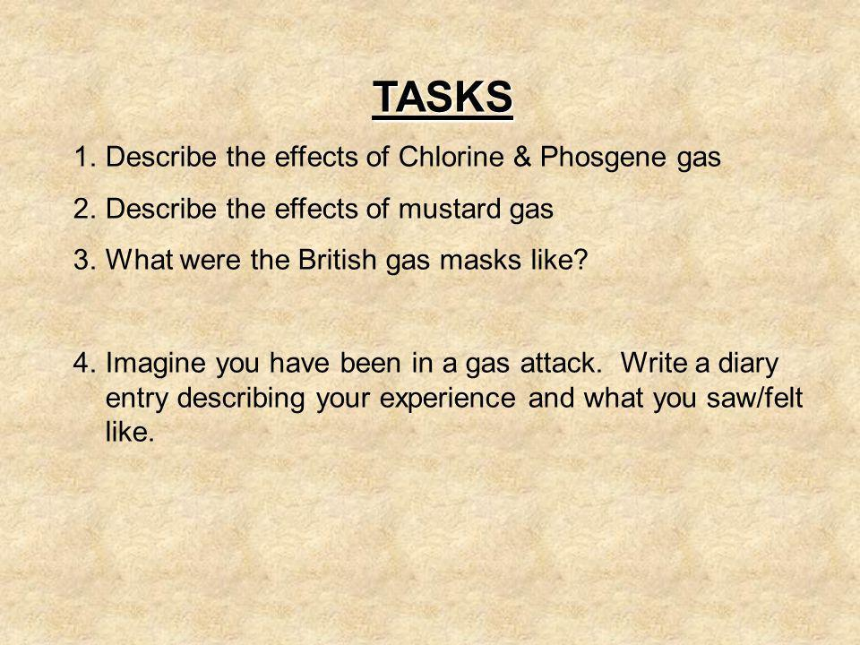 TASKS Describe the effects of Chlorine & Phosgene gas