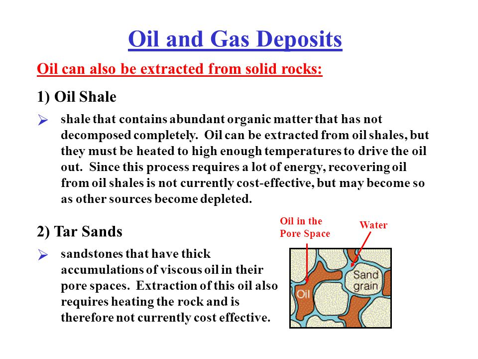 Oil and Gas Deposits Oil can also be extracted from solid rocks: