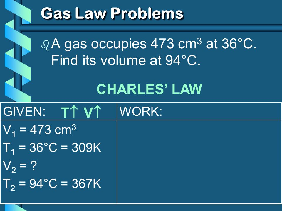 Gas Law Problems A gas occupies 473 cm3 at 36°C. Find its volume at 94°C. CHARLES' LAW. GIVEN: V1 = 473 cm3.