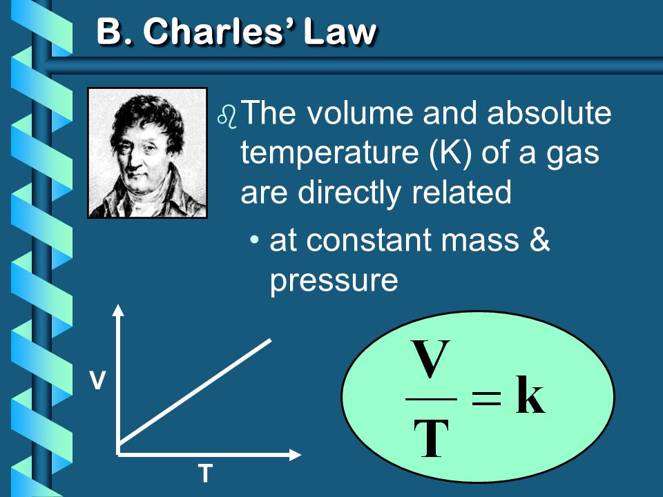 B. Charles' Law The volume and absolute temperature (K) of a gas are directly related. at constant mass & pressure.