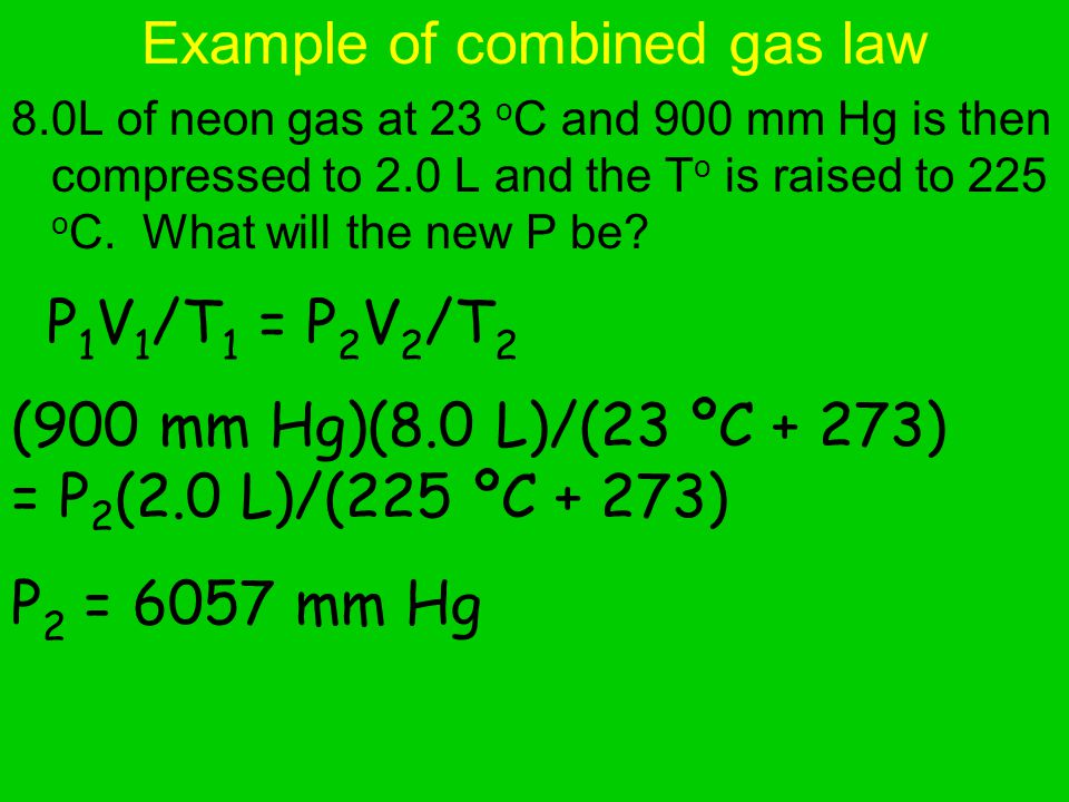 Example of combined gas law