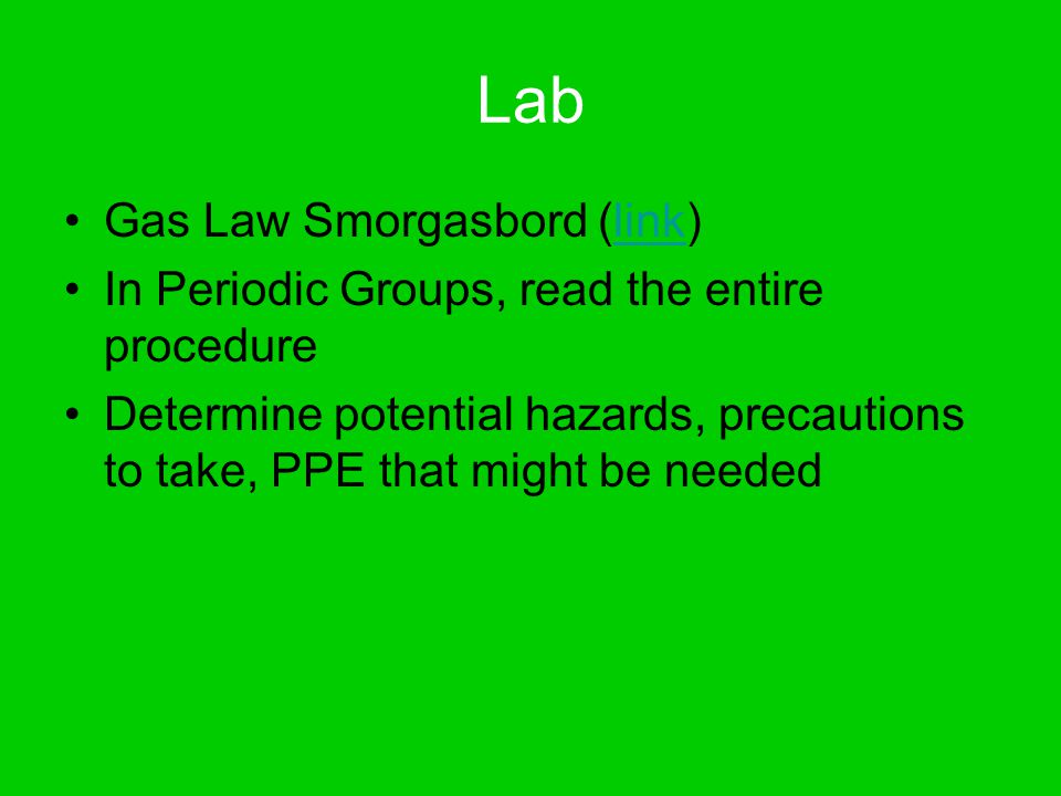 Lab Gas Law Smorgasbord (link)