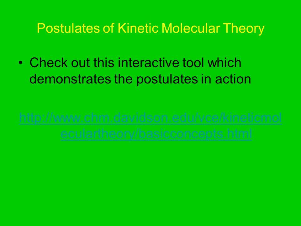 Postulates of Kinetic Molecular Theory