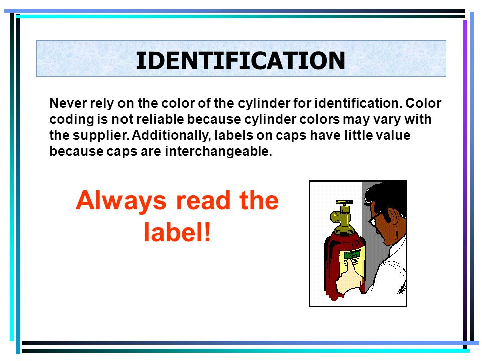 Always read the label! IDENTIFICATION