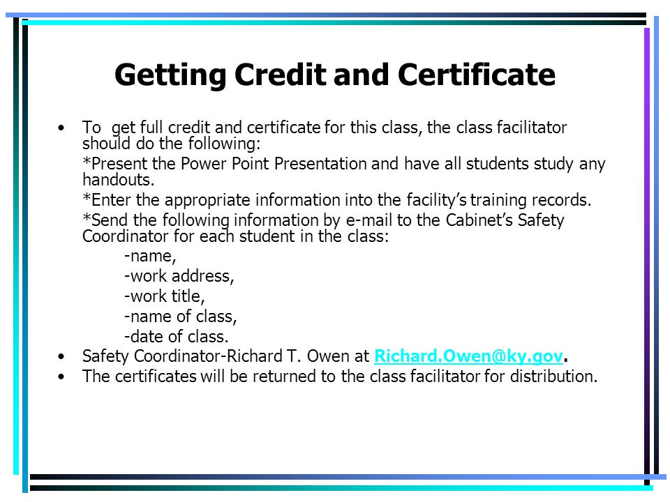Getting Credit and Certificate