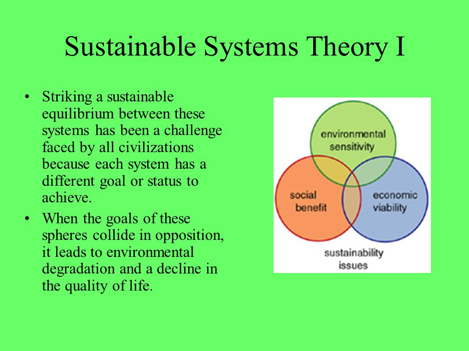 Sustainable Systems Theory I