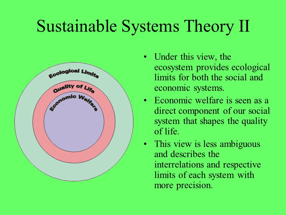 Sustainable Systems Theory II