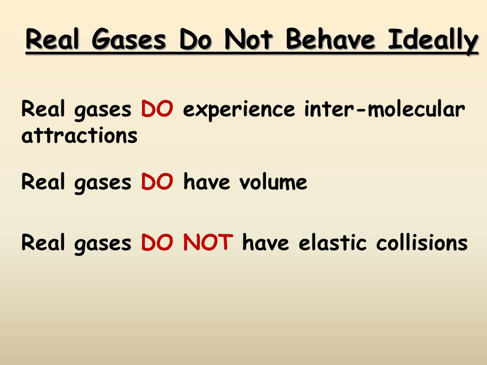 Real Gases Do Not Behave Ideally