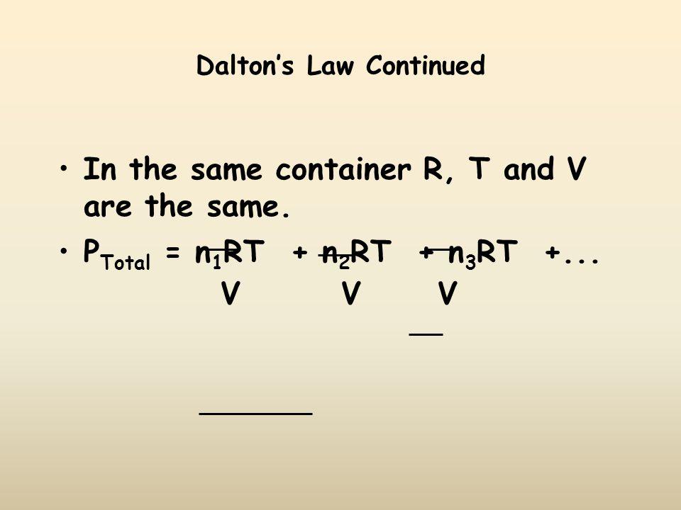 Dalton's Law Continued