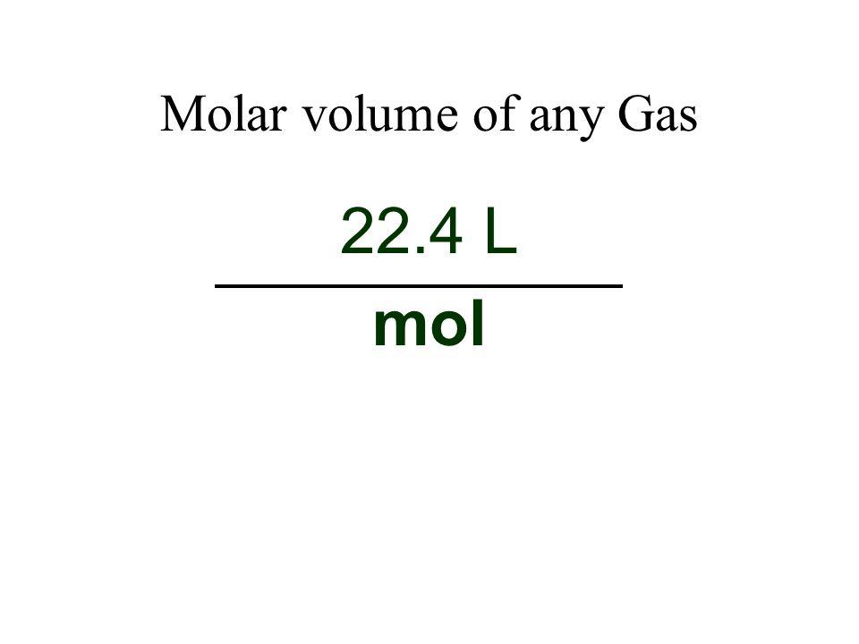 Molar volume of any Gas 22.4 L mol