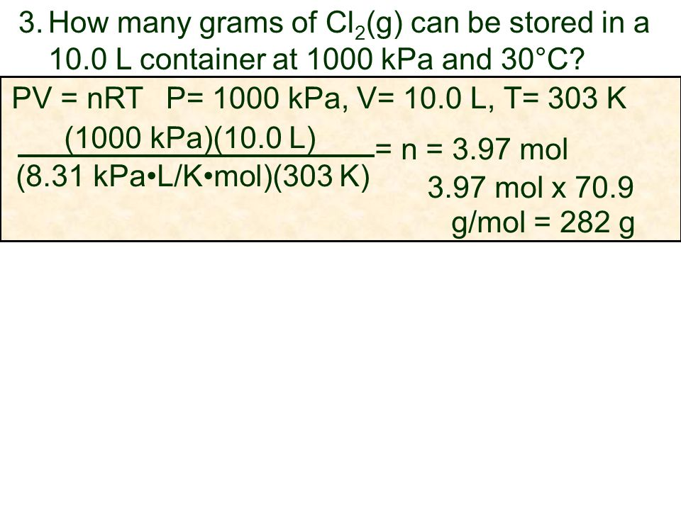 How many grams of Cl2(g) can be stored in a 10