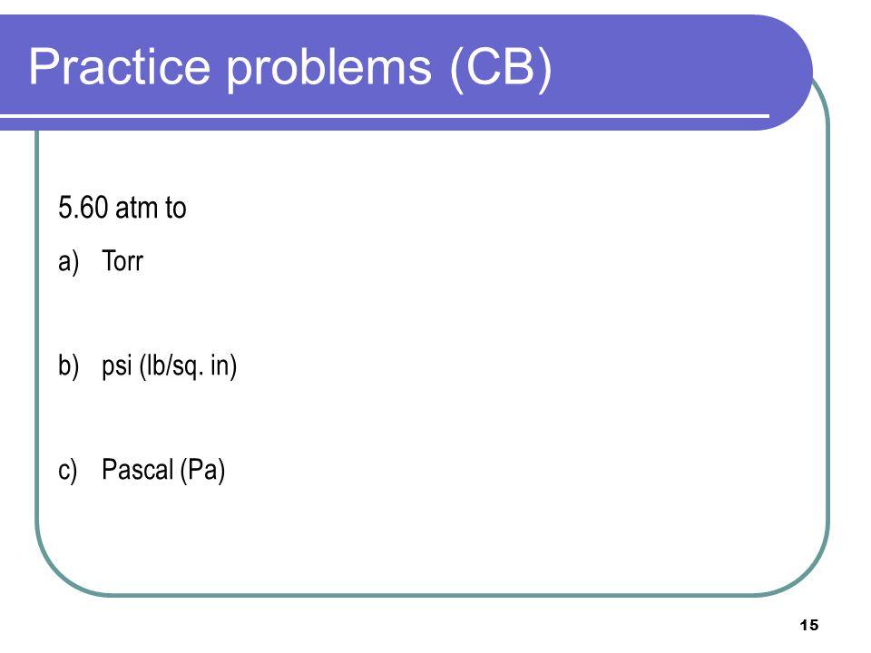 Practice problems (CB)