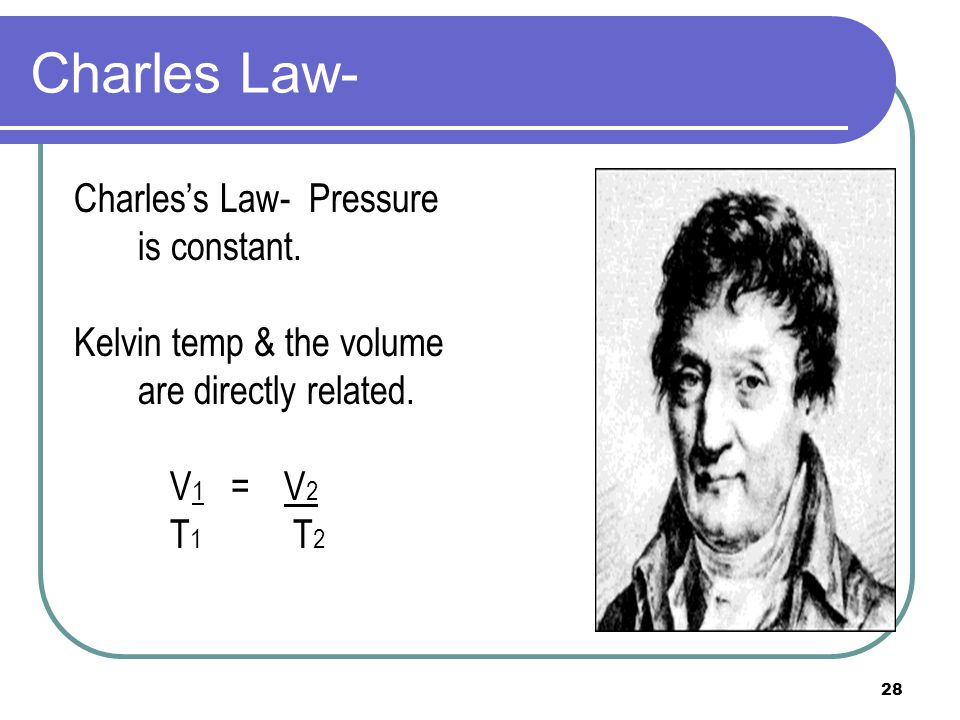 Charles Law- Charles's Law- Pressure is constant.