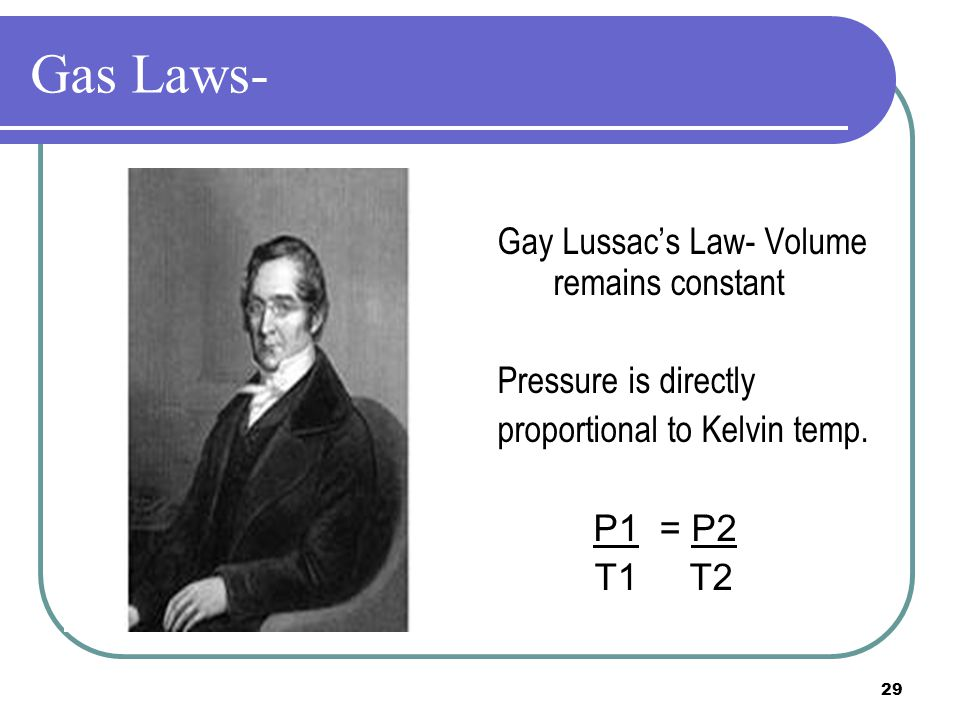 Gas Laws- Gay Lussac's Law- Volume remains constant