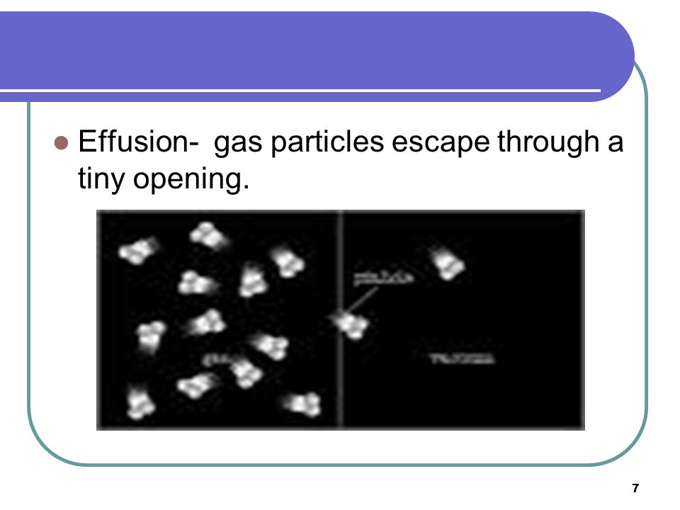 Effusion- gas particles escape through a tiny opening.