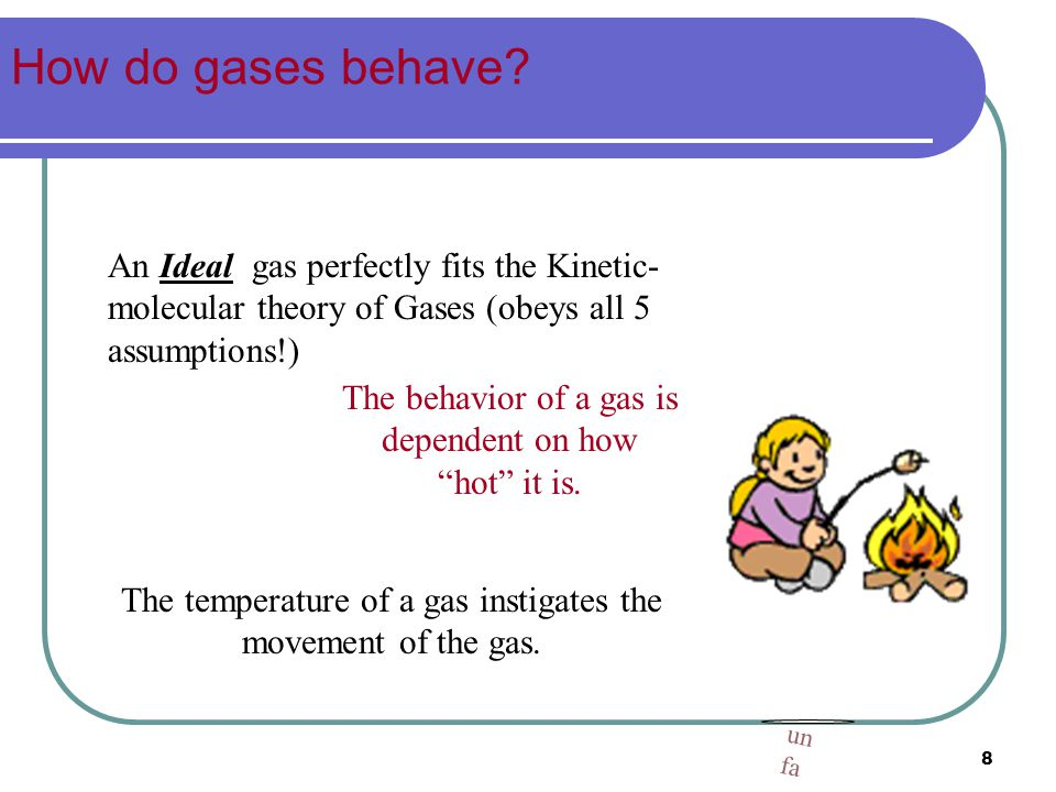 The temperature of a gas instigates the movement of the gas.