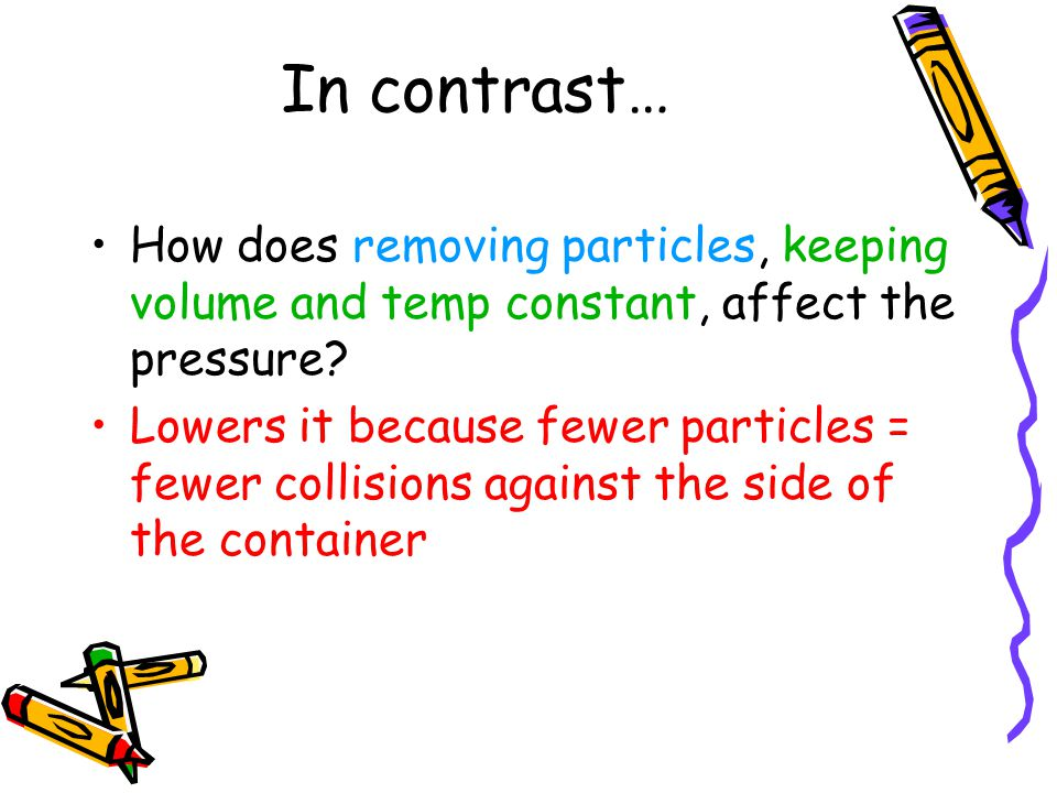In contrast… How does removing particles, keeping volume and temp constant, affect the pressure
