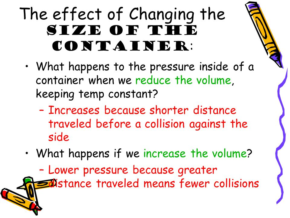 The effect of Changing the Size of the Container: