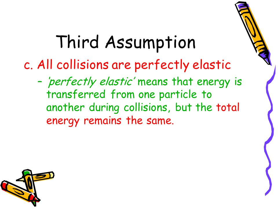 Third Assumption c. All collisions are perfectly elastic