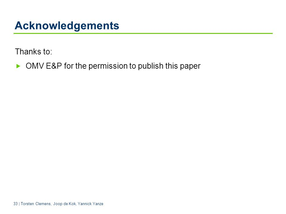 Acknowledgements Thanks to: