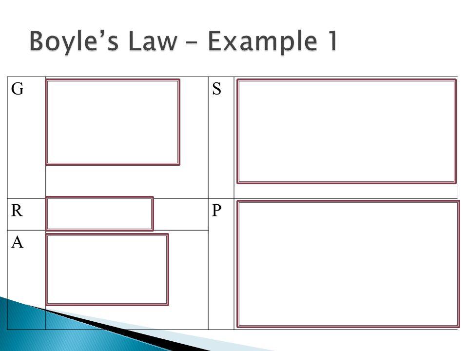 Boyle's Law – Example 1 G P1 = 30 mmHg V1 = 47.3 cm3 P2 = 75 mmHg S