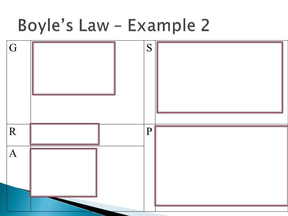 Boyle's Law – Example 2 G P1 = 100 kPa V1 = 1000 cm3 V2 = 500 cm3 S