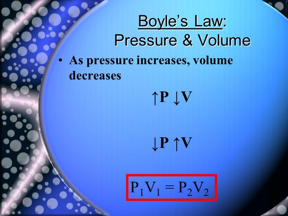 Boyle's Law: Pressure & Volume