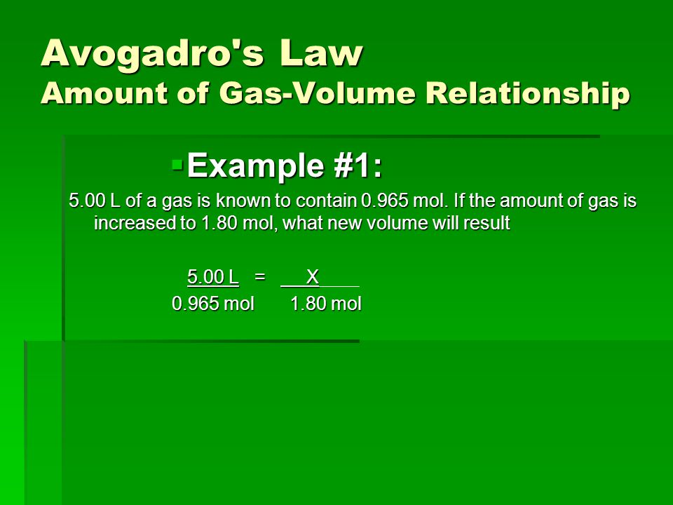 Avogadro s Law Amount of Gas-Volume Relationship