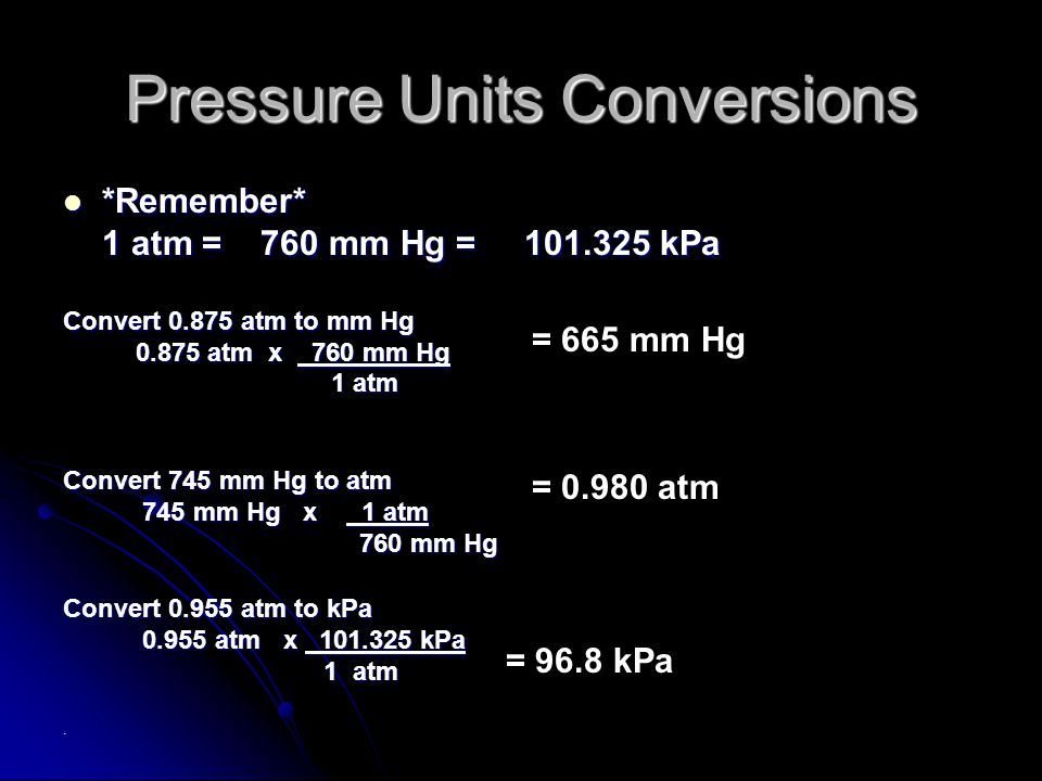 Pressure Units Conversions