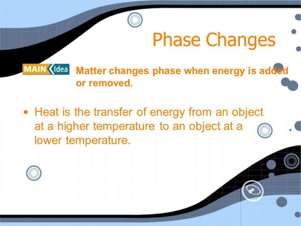 Phase Changes Matter changes phase when energy is added or removed.