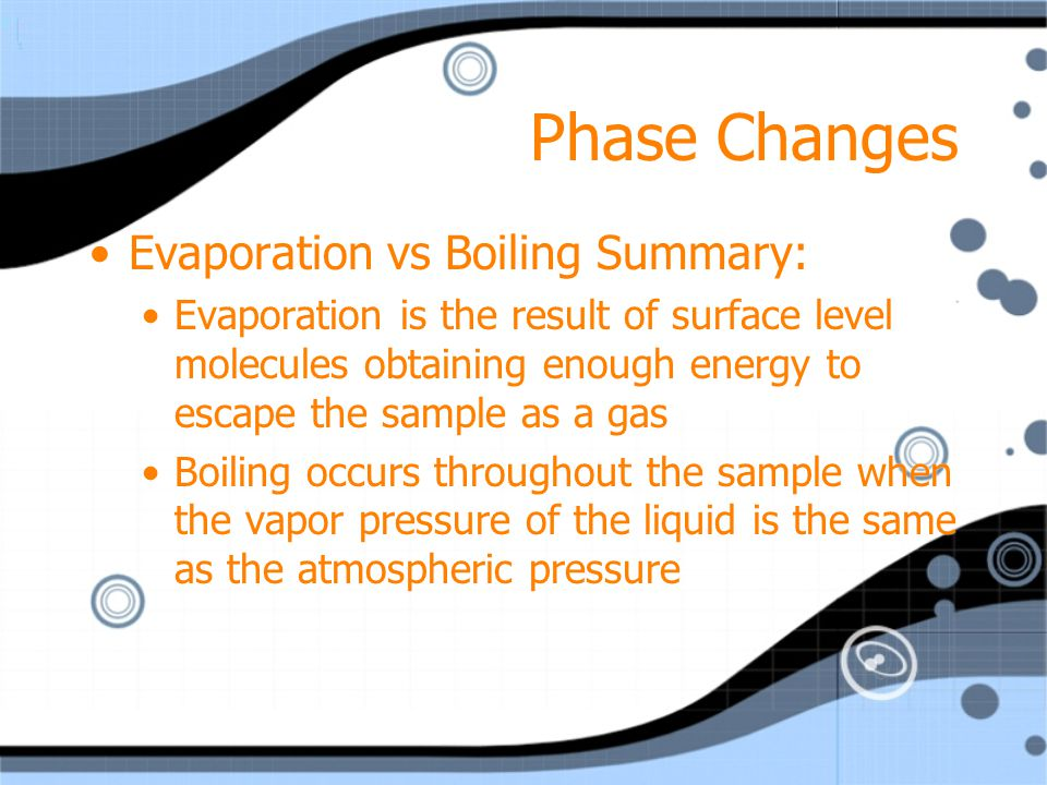 Phase Changes Evaporation vs Boiling Summary: