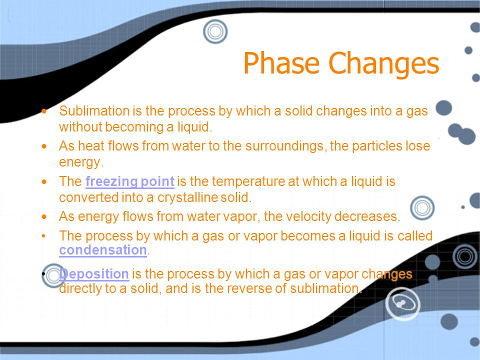 Phase Changes Sublimation is the process by which a solid changes into a gas without becoming a liquid.