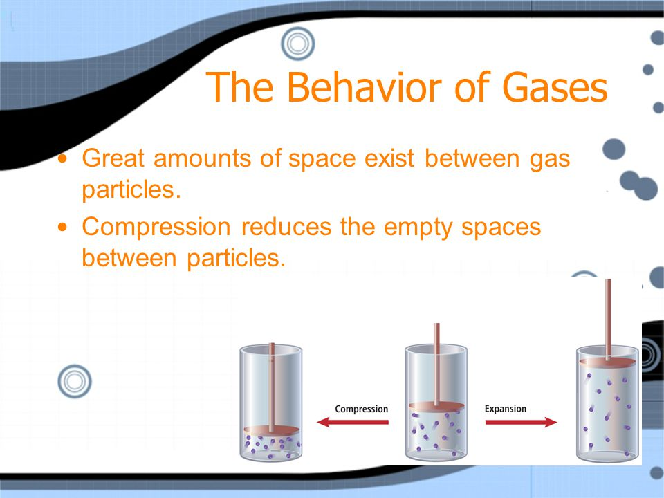 The Behavior of Gases Great amounts of space exist between gas particles.